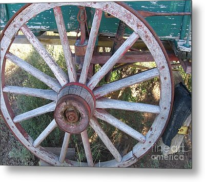 Metal Print featuring the photograph Old Wagon Wheel by Dora Sofia Caputo Photographic Art and Design
