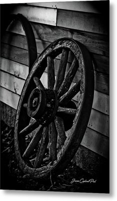 Old Wagon Wheel Metal Print by Joann Copeland-Paul