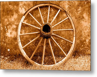 Old Wagon Wheel - Sepia Metal Print by Olivier Le Queinec