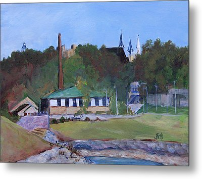 Old Waterworks Building Metal Print by Janet Felts