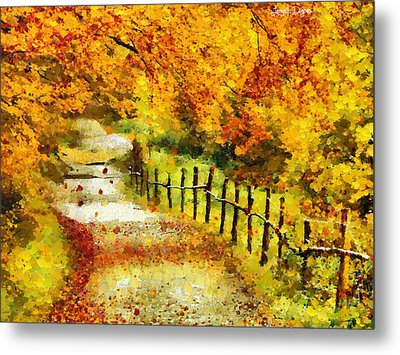 Old Way In Fall - Pa Metal Print
