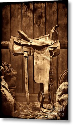 Old Western Saddle Metal Print by American West Legend By Olivier Le Queinec