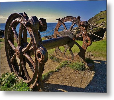 Old Winch Tintagel Metal Print by Richard Brookes