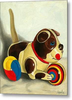 Old Windup Dog Toy Painting Metal Print by Linda Apple