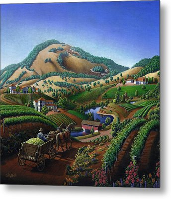 Old Wine Country Landscape Painting - Worker Delivering Grape To The Winery -square Format Image Metal Print by Walt Curlee