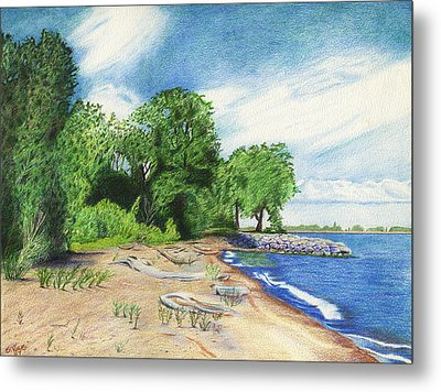 Metal Print featuring the drawing Old Woman Creek - Huron Ohio by Shawna Rowe