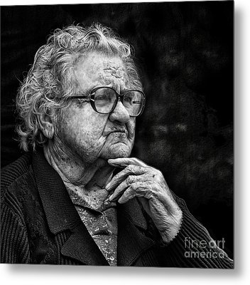 Old Woman Lost In Thought Metal Print by Stephan Grixti