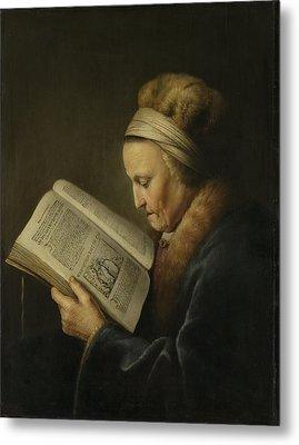 Old Woman Reading Metal Print by Gerard Dou