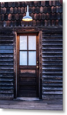 Old Wood Door And Light Metal Print by Terry DeLuco