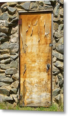 Old Wood Door And Stone - Vertical  Metal Print by James BO  Insogna