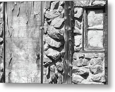Old Wood Door Window And Stone In Black And White Metal Print by James BO  Insogna