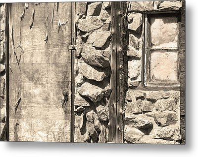 Old Wood Door Window And Stone In Sepia Black And White Metal Print by James BO  Insogna