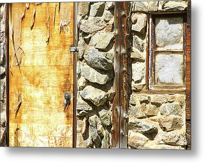 Old Wood Door Window And Stone Metal Print by James BO  Insogna