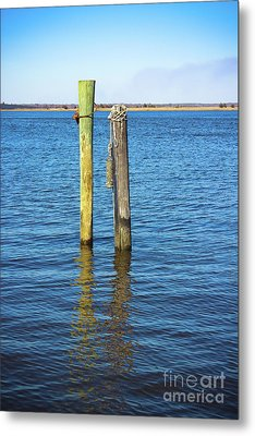 Metal Print featuring the photograph Old Wood Pilings In Blue Water by Colleen Kammerer