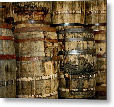 Old Wood Whiskey Barrels Metal Print