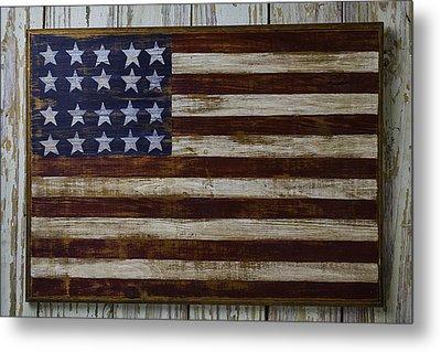 Old Wooden American Flag Metal Print by Garry Gay