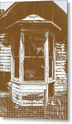 Old Wooden Burnt House Destroyed By Fire Metal Print