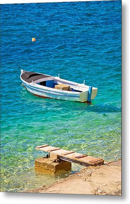 Old Wooden Fishermen Boat On Turquoise Beach Metal Print