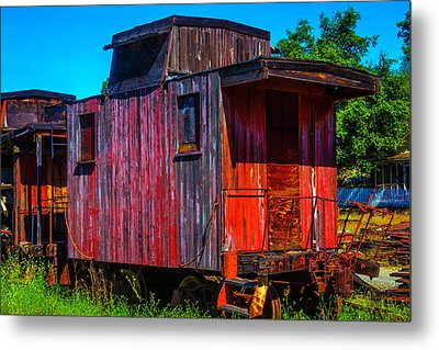 Old Wooden Red Caboose Metal Print by Garry Gay