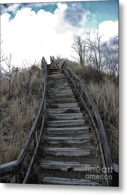 Old Wooden Stairs Leading Up To Top Of A Sand Dune Metal Print by Christopher Purcell