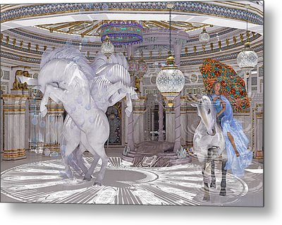 Old World Lipizzaners  Metal Print by Betsy Knapp