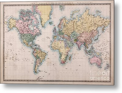 Old World Map On Mercators Projection Metal Print by Richard Thomas