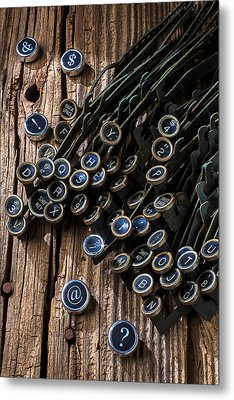 Old Worn Typewriter Keys Metal Print