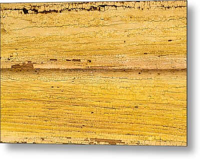 Old Yellow Paint On Wood Metal Print by John Williams