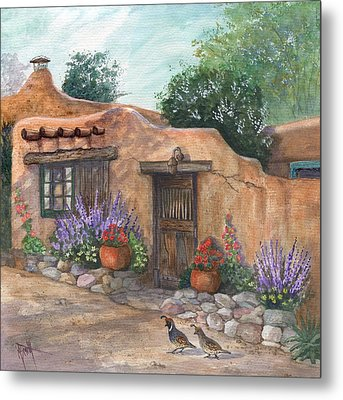 Metal Print featuring the painting Old Adobe Cottage by Marilyn Smith