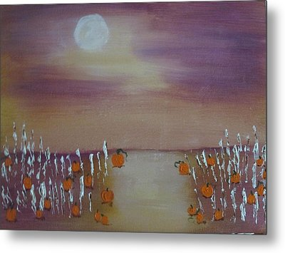 Olde Tyme Pumpkin Patch And Maze Metal Print by Sharyn Winters