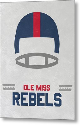 Ole Miss Rebels Vintage Football Art Metal Print by Joe Hamilton