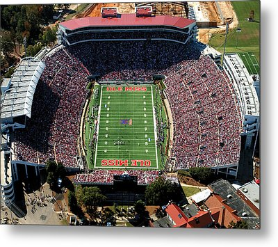 Ole Miss Vaught-hemingway Stadium Aerial View Metal Print by University of Mississippi - Imaging Services - Athletics