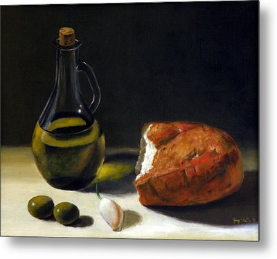 Olive Oil And Bread Metal Print