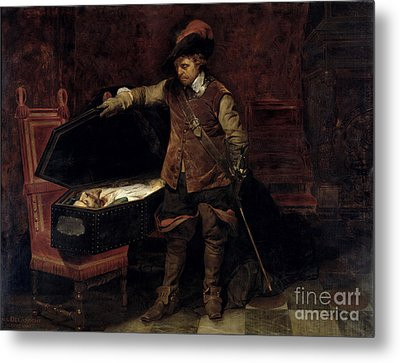 Oliver Cromwell Opening The Coffin Of Charles I  Metal Print by Hippolyte Delaroche