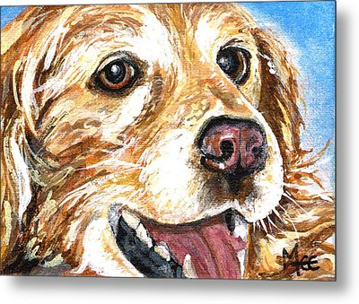 Metal Print featuring the painting Oliver From Muttville by Mary-Lee Sanders