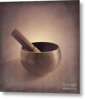 Metal Print featuring the photograph Om Singing Bowl by Chris Scroggins