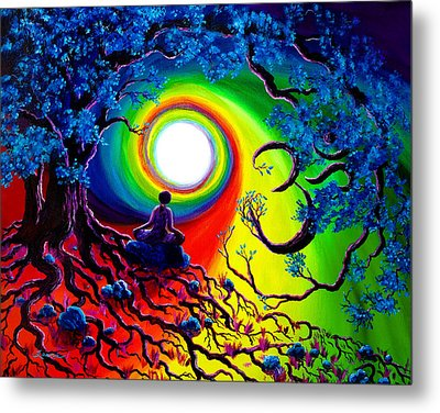 Om Tree Of Life Meditation Metal Print