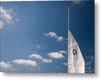 Omega Symbol On Mast Metal Print by Arletta Cwalina