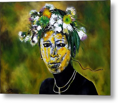 Omo Valley Tribal Face Paint Metal Print