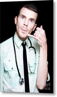 On Call Doctor Making Phone Gesture For Home Visit Metal Print by Jorgo Photography - Wall Art Gallery
