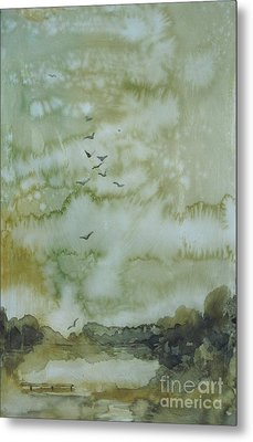 Metal Print featuring the painting On Golden Pond by Elizabeth Carr