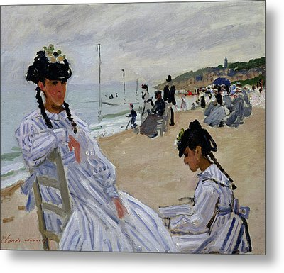 On The Beach At Trouville Metal Print by Claude Monet