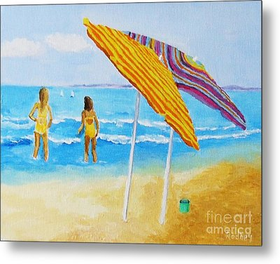 Metal Print featuring the painting On The Beach by Rodney Campbell