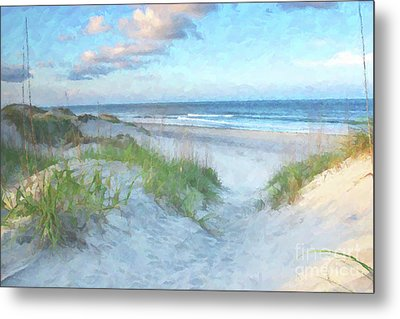 On The Beach Watercolor Metal Print by Randy Steele