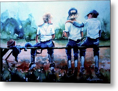 On The Bench Metal Print by Hanne Lore Koehler
