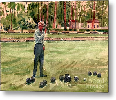 On The Bowling Green Metal Print by Donald Maier