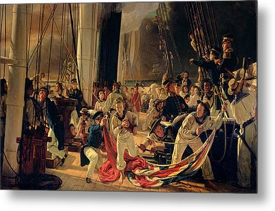 On The Deck During A Sea Battle Metal Print by Francois Auguste Biard