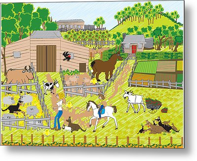 On The Farm Metal Print by Diana-Lee Saville