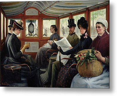 On The Omnibus Metal Print by Maurice Delondre