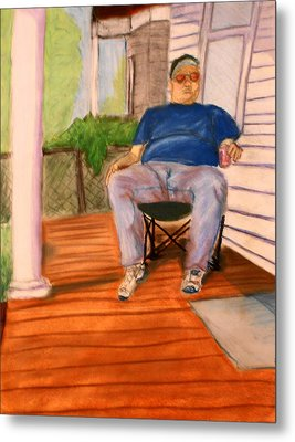Metal Print featuring the pastel On The Porch With Uncle Pervy by Jean Haynes